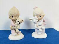 Precious Moments Set JESUS LOVES ME Boy & Girl with Teddy Bear & Bunny Enesco 77