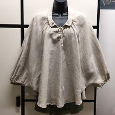 Kapital XS Natural Linen Collar Raglan Sleeve Oversize Poncho Bolero Shirt