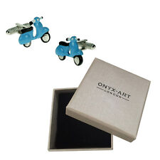 Mens Executive Cufflinks Vespa Blue By Onyx Art Moped Italian Scooter