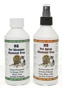 KG Wash & Go Pet Shampoo & KG Pet Spray Treatmen for Mange/Fleas & Skin Problems