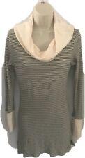 A PEA IN THE POD Maternity Women Large Cowl Neck Knit Top Sweater Stripe Beige