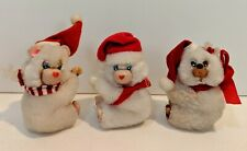 Vintage Bear Hugger Clinger Clip On Christmas Holiday Retro Lot Of 3