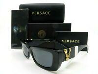 Versace Black & Gold V Logo Unisex Sunglasses, New w/Box VE 4382 GB1/87 52mm