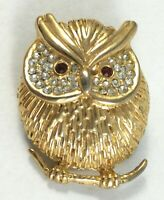 Vintage Brooch Owl Pin Rhinestone Rhinestones Gold Tone Red Eyes Bird Jewelry