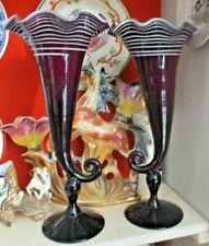 coppia VASI a CORNUCOPIA vetro di MURANO originali anni 70 altezza Cm. 39
