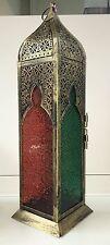 Tall VINTAGE Marocchina Lanterna Metallo Oro Antico Pilastro portacandele Rosso Verde