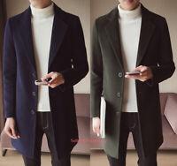 Men's Casual Woolen Blend Overcoat Long Jacket Lapel Coat Parka Outwear Trench
