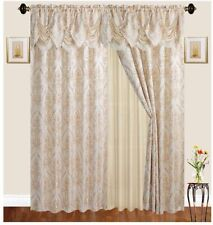 Jacquard Curtain Drape Set (2 Panels), Includes attached Valance, Sheer Tassels.