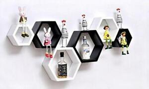 Hexagon wall shelf, set of 6 hexagon wooden wall shelf (Black & White)