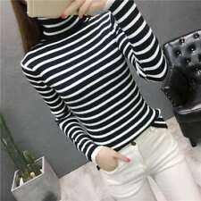 newAutumn winter Korean fashion elegant High collar stripe Knitting sweater coat