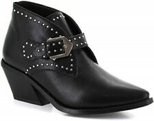 BNIB - SEVEN7 BLACK STUDDED COWBOY ANKLE BOOTS. POINTED TOE. VEGAN LEATHER UK 6.