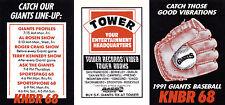1991 SAN FRANCISCO GIANTS BASEBALL UNFOLDED POCKET SCHEDULE
