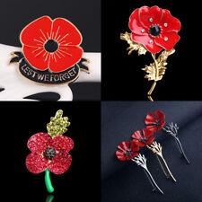Fashion Suit Scarf Shawl Brooch Red Poppy Enamel Lapel Pin Broach Banquet Gift