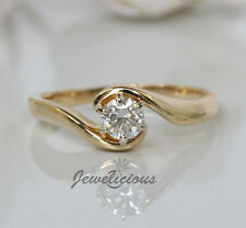 Round Diamond Solitaire Engagement Ring Elegant 18K Y Gold 0.35ct Natural