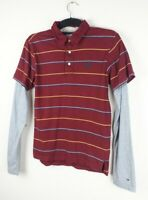 Tommy Hilfiger Burgundy Red Polo Tshirt Size S Long Sleeve Stripe Spell Out