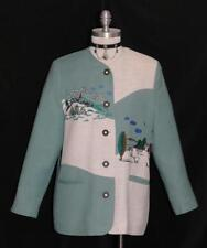 WHITE & GREEN ~ LINEN German SUMMER ~ EMBROIDERED MOUNTAINS Dress Suit Jacket M