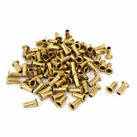 4mm X 10mm de Latón Platoado Hueco Remaches Ojales de Tono Oro de 100 Piezas
