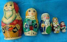 Wooden Signed Christmas Holiday Russian Nesting Dolls 5 Piece Set Santa Snowman