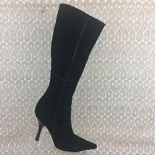 BCBGirls Knee High Heel Boots Size 6 B Women's Black Suede Size Zip Up S43