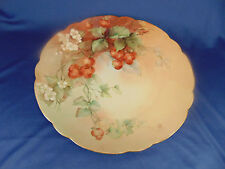 "Ceramic cake plate Apple design hand painted scalloped edges 12 1/4"" across food"