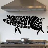 Pig Anatomy - Cuts Of Pork Kitchen Wall Sticker Decal Transfer Matt Vinyl UK