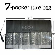 Qty 1 Black Fishing 7 Pocket Lure bag Roll-up Trolling TACKLE Storage Jig bags