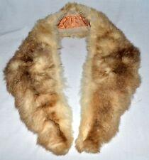 Vintage Cream & Brown Fluffy Possum Fur Tapered Collar Wrap Scarf Peach Lining