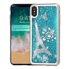"""For iPhone XS Max 6.5"""" - Silver Paris Eiffel Tower Blue Glitter Star Liquid Case"""