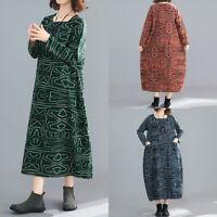 ZNAZEA Femme Loisir Impression Manche Longue Col Rond Robe Dresse Maxi Oversize