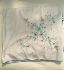Floral Embroidered Tablecloth Large Rectangle Pink Blue Green White Spring