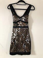 Jane Norman Leopard Print Bodycon Dress Silk Feel Size 8 A1712