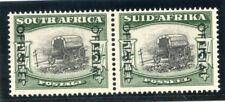 South Africa 1954 Official 5s black & deep yellow-green pair superb MNH. SG O50a