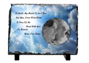 Personalised Photo Memorial Rock Slate Parents Grandparents Friends