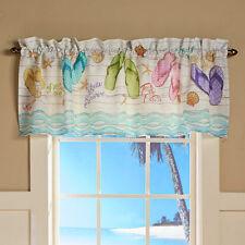 Tropical Window Valance Beach Themed Topper Bathroom Decor Rod Pocket Flip Flop