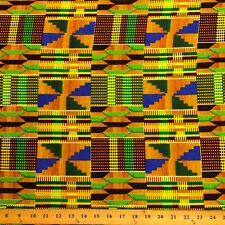 Kente African Print Fabric 100% Cotton 44'' wide sold by the yard (19006-3)