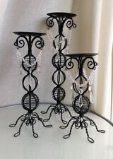 """Vintage Scrolling wicker metal black 3 candle holders with glass beads 8.75""""-13"""""""