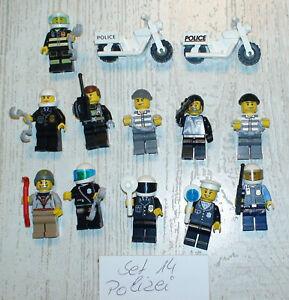 13x LEGO FIGUREN MENSCHEN 11x Polizei 2x Motorrad Set Nr.14