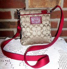 Coach Poppy Signature Sateen Swingpack~Messenger~Crossbody Bag  Khaki/Red - Euc