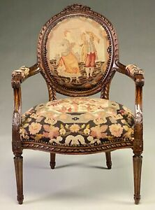 ANTIQUE WELL CARVED LOUIS XVI STYLE FAUTEUIL WITH PETTIPOINT & NEEDLEWORK UPHOLS