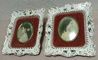 Cameo Creation Porcelain Frame 2 Piece Lot 5 x 6 Victorian Portrait 1 Has Repair