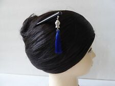Japanese Kanzashi Hair Stick With Royal Blue Tassel Design Kumi Hair Ornament