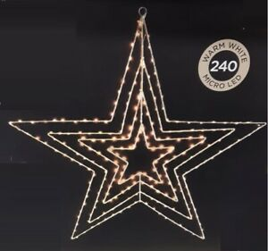 240 Micro Led Warm White Light Up Star Window Xmas Decoration With 8 Functions