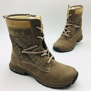 Sporto Women's Carly Water-Resistant Combat Boot Size 9.5W Stone