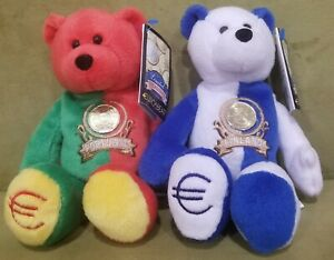 LOT OF 2 EURO BEARS FINLAND & PORTUGAL PLUSH RETIRED COIN BEAR LIMITED TREASURES