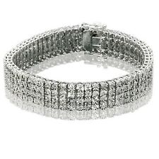 4 Row Men's Tennis Bracelet with Natural Diamonds in White Gold Finish