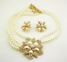 "Joan Rivers Faux Pearl & Crystal Necklace  16""  3"" ext. & PIERCED Earring Set 1"""