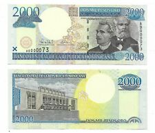 DOMINICAN REPUBLIC NOTE 2000 PESOS 2000 MILLENIUM LOW # 000073 P 164 UNC