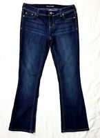 Maurices Jeans Womens 7/8 Short Mid Rise Bootcut Dark Wash Stretch