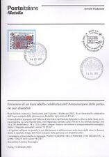 ITALIA 2003 ANNO DISABILITA'  BOLLETTINO COMPLETO DI FRANCOBOLLI ANNULLO FDC