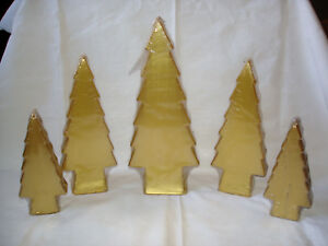 Set of 5 Gold Colored Tree Shaped Candles Christmas Tree Candles New in Plastic
